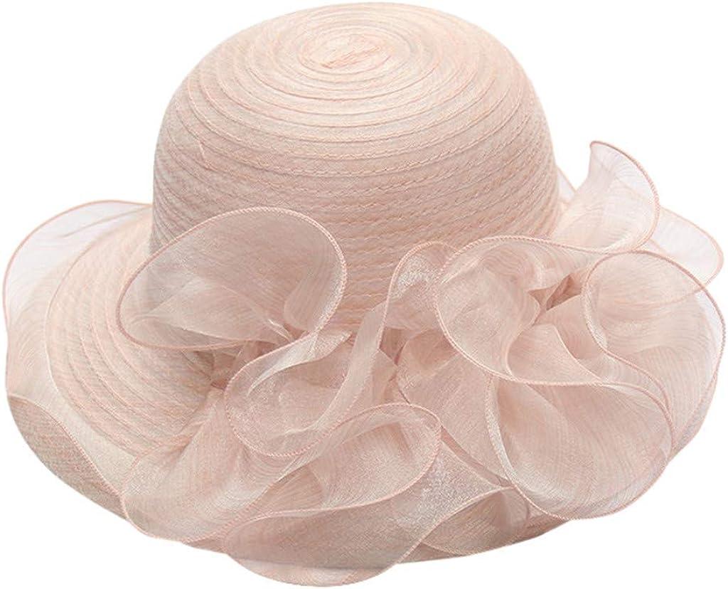 QIQIU New Women's Wide Brim Fancy Church Kentucky Derby Fascinator Cap Fascinator Bridal Tea Party Wedding Ruffles Hat