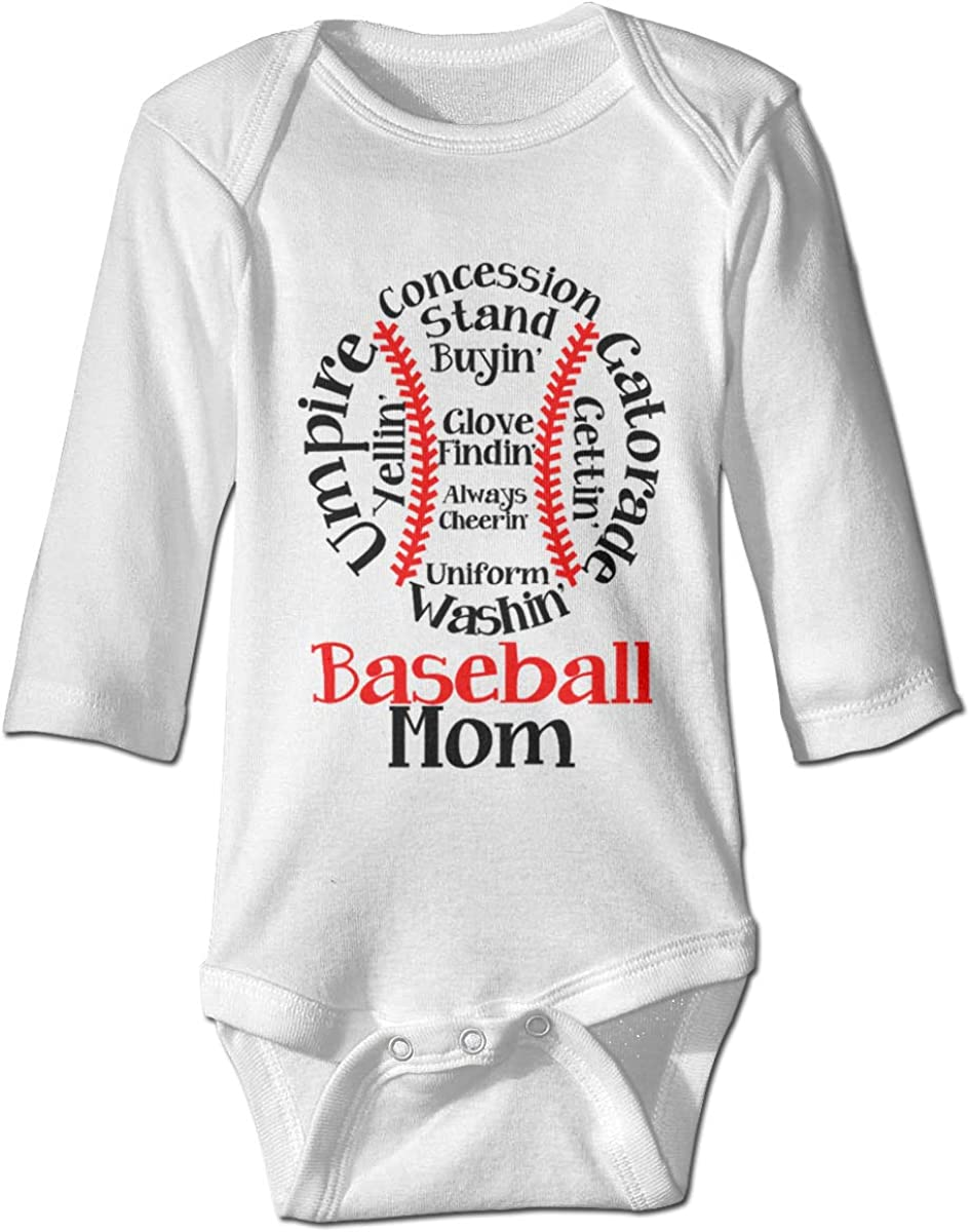 Marsherun Babys Girl Boy Baseball Mom Long Sleeve Bodysuit Playsuit