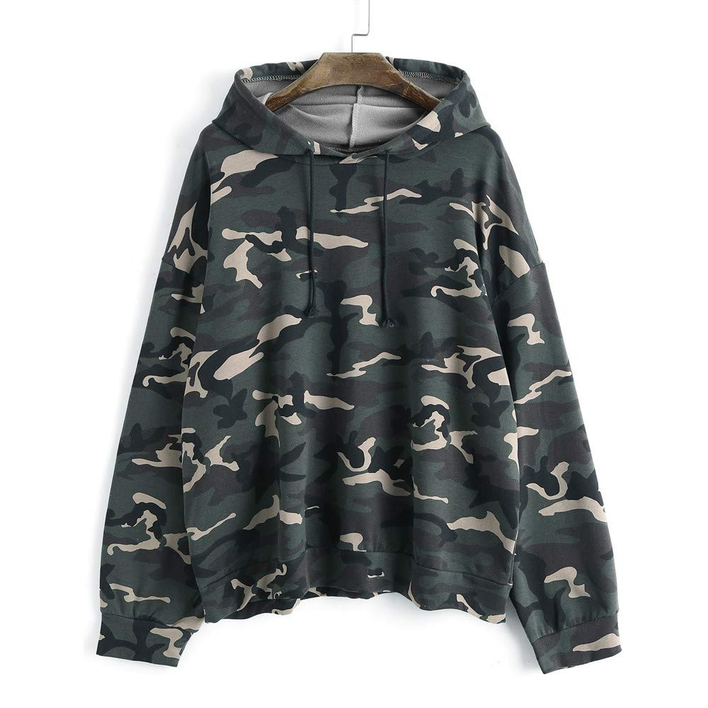 2018 Latest Hot Style!!! Teresamoon Women's Long Sleeve Drawstring Oversized Camouflage Hoodie Blouse Shirt Tops Teresamoon-Shirt