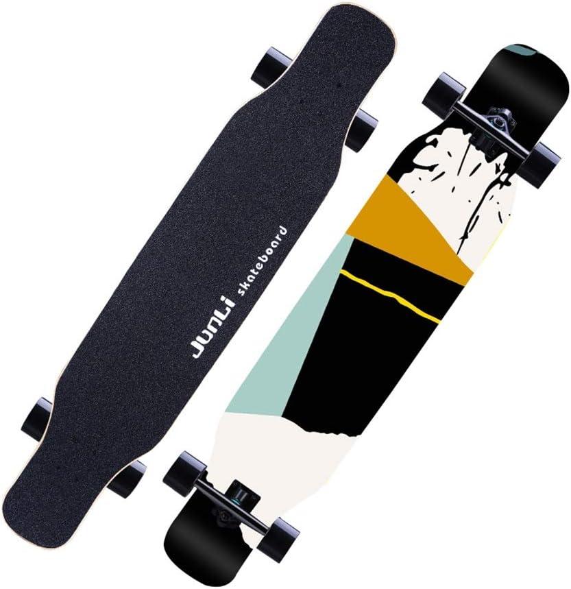 LINGLING-スケートボード ロングボードプロフェッショナルダンスボードメープルスケートボードロードブラシストリートトラベル初心者成人男性男の子と女の子 青