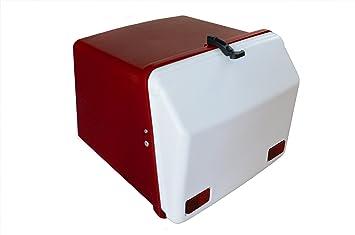 Portaequipajes moto baúl reparto rojo-blanco con reflectantes homologados