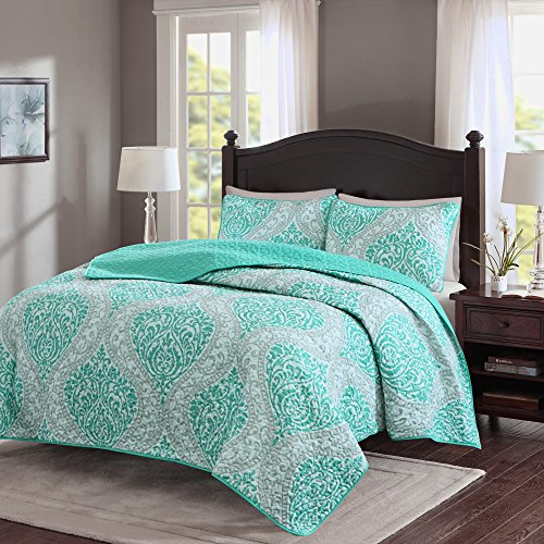 Comfort Spaces – Coco Mini Quilt Set - 3 Piece – Teal and Grey– Printed Damask Pattern – Full / Queen size, includes 1 Quilt, 2 Shams