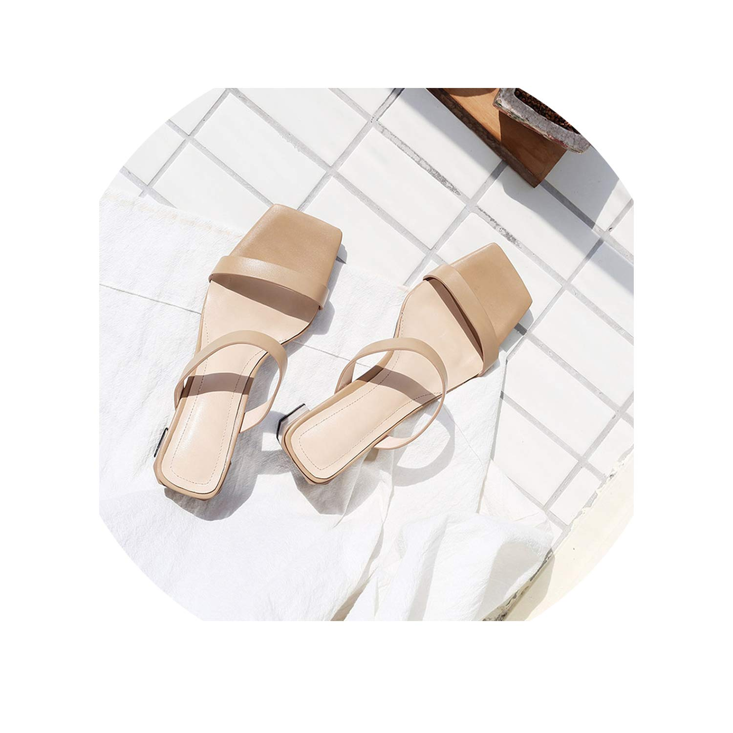 Beige Fairly Thick Heels Slippers Women Summer Ladies Square Toe Mules shoes Real Leather Slides