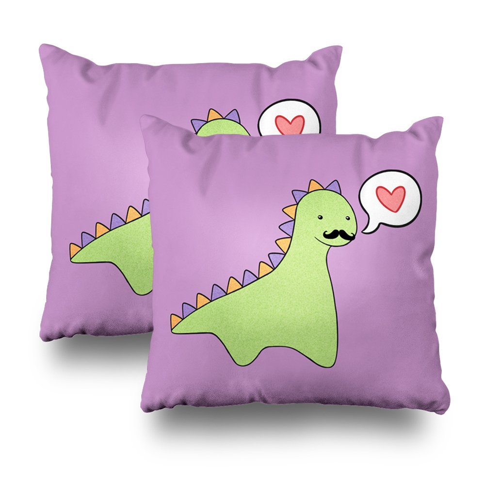 ONELZ Cute Dinosaur Mustache Square Decorative Throw Pillow Case, Fashion Style Zippered Cushion Pillow Cover (18X18 inch,Set of 2)