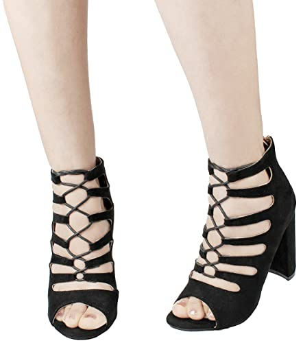 55dc73a9ba5433 JJF Shoes Women s Black Caged Cutout Peep Toe Back Zip Chunky Stacked Block  Heel Ankle-