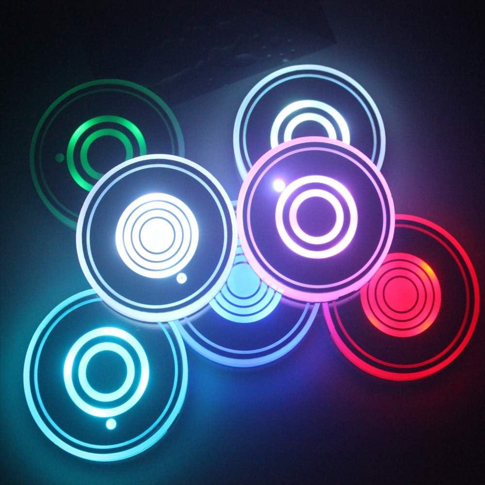 Posavasos de LED con Almohadilla de Copa luminiscente de 7 Colores Taza de Carga USB para Accesorios de Posavasos Decoraci/ón Interior Ambiente Luz. Juego de 2 Luces LED para portavasos