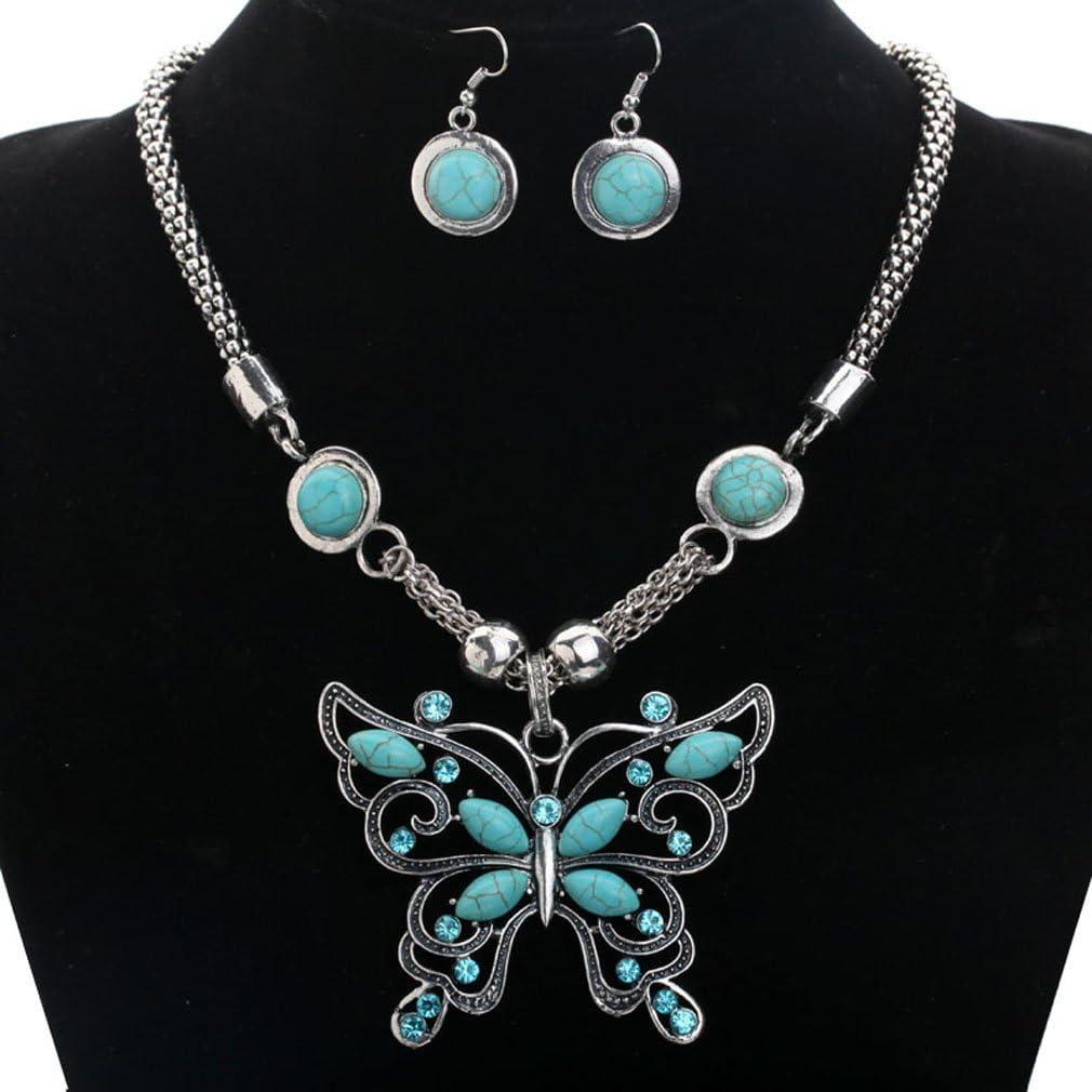 Yazilind Retro Papillon Collier Turquoise et Boucles doreilles avec Crystal tibetain Chaine en Argent pour Les Femmes?