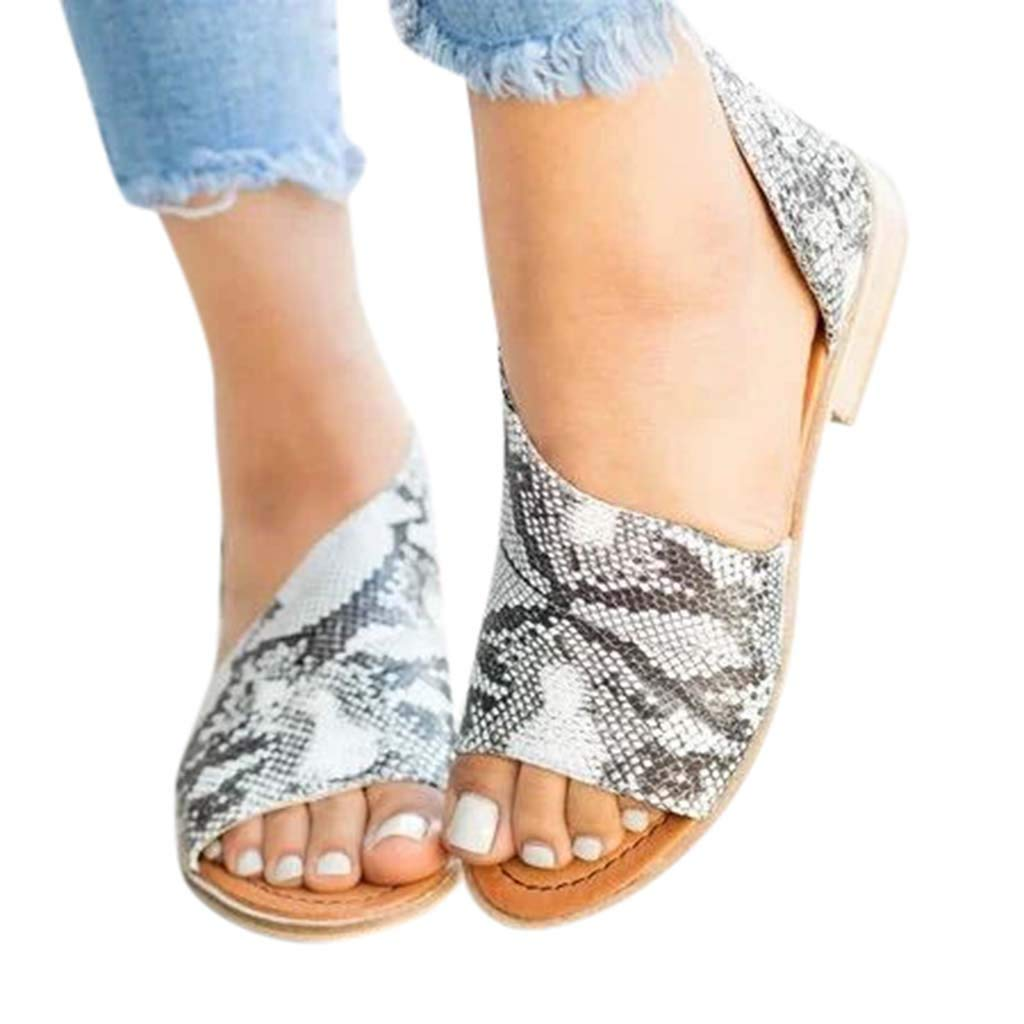 Amazon.com | OrchidAmor Women Summer Fashion Casual Shoes Side Open Cover Heel Retro Peep Toe Sandals Dark Gray | Pumps