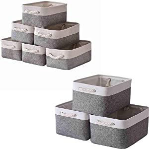 Sacyic Storage Baskets for Shelves, Fabric Baskets for Organizing, Collapsible Storage Bins for Closet, Nursery, Clothes, Toys, Home & Office [9-Pack, White&Grey]