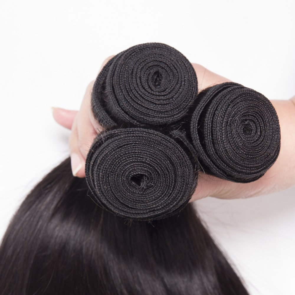 Brazilian Straight Hair 3 Bundles With Frontal Closure 13×4 Ear To Ear Lace Frontal With Bundles 100% Unprocessed Virgin Human Hair Extensions Weave Natural Color (22 24 26 +20 Frontal) by LONG YAO (Image #5)