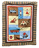 Twin Size Quilts, Quilts Patchwork Style with Sham, Reverses To Coordinating Design, 100% Cotton, TWIN, 68 x 86 (On the Road)
