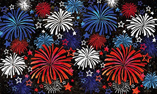 Evergreen Patriotic Fireworks Embossed Floor Mat, 18 x 30 inches