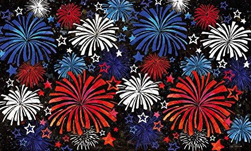 Evergreen Patriotic Fireworks Embossed Floor Mat, 18 x 30 inches