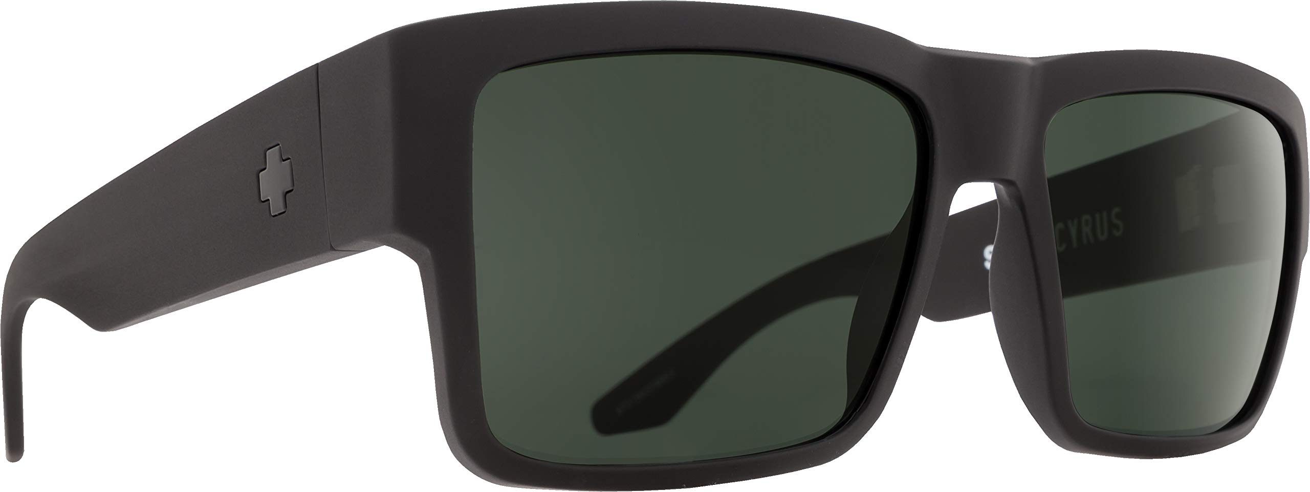 Spy Optic Men Cyrus Rectangular, Matte Black/Happy Gray/Green, 58 mm