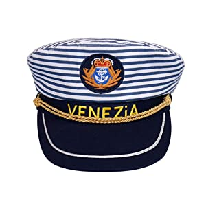 Amosfun Captain Hat Navy Marine Admiral Hat Sailor Ship Yacht Boat Captain Cap Blue Stripe for Adults (Adults 58cm Adjustable)