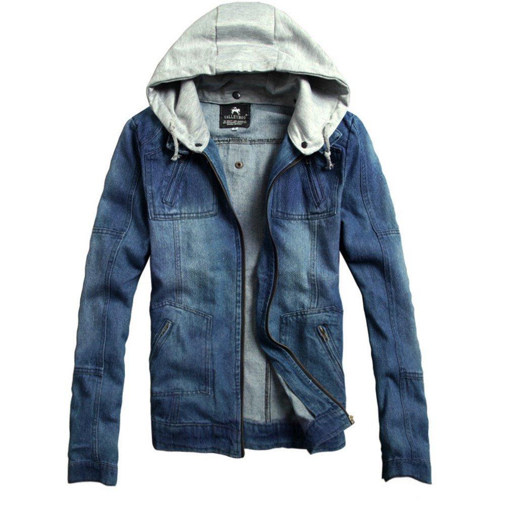 Mercea Men's Denim Jacket with Detachable Hood Flying Bomber Tops for Teen Boys Spring Fall