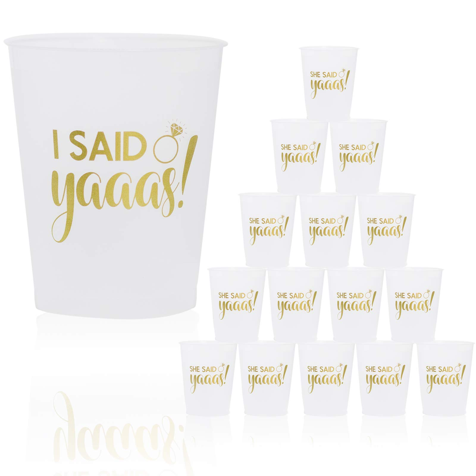 She Said Yaaas Bachelorette Party Cups Supplies for Weddings, Bridal Showers, Engagement Parties Decorations - 17 PACK 16 Oz. Cup for Bride Tribe Decor - Bride To Be Gifts & Party Favors