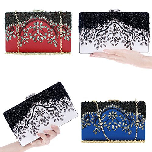 Bag Wedding Evening Wallet Bridal Bead LoXTong Handmade Party Purse Blue Prom Clutch Women wI8vTqY