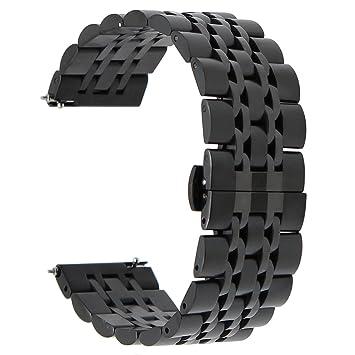 TRUMiRR 22mm Liberación Rápida Banda de Reloj de Acero Inoxidable Mariposa Correa de Hebilla para Samsung Gear S3 Classic Frontier, Samsung Galaxy ...