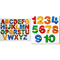 Little Genius English Alphabets - Uppercase with Knob & Little Genius Number Puzzle - 1 to 10 with Knob