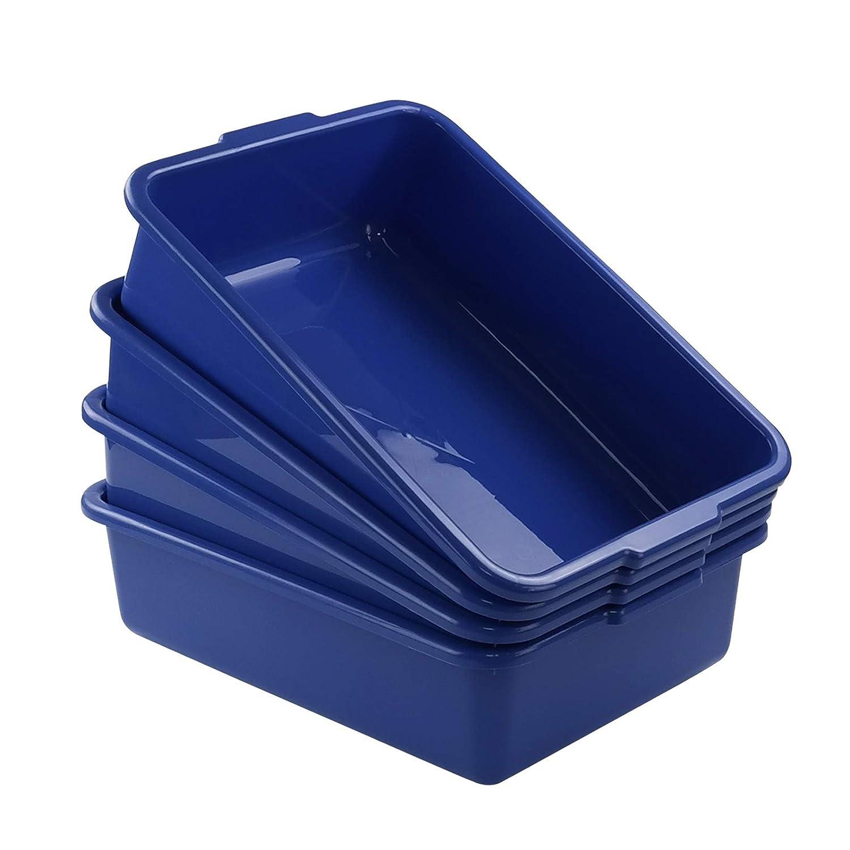 Xyskin Plastic Rectangle Washing up Bowls Basins Utility Tub Trays, Deep Blue, 4 Packs