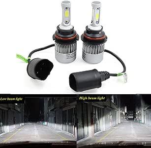2PCS LED Headlight Low Beam Light High Beam Light Fog Light All-in-One Conversion Kit 9004 Base 72W 6500K 8000Lm Xenon White COB Chip
