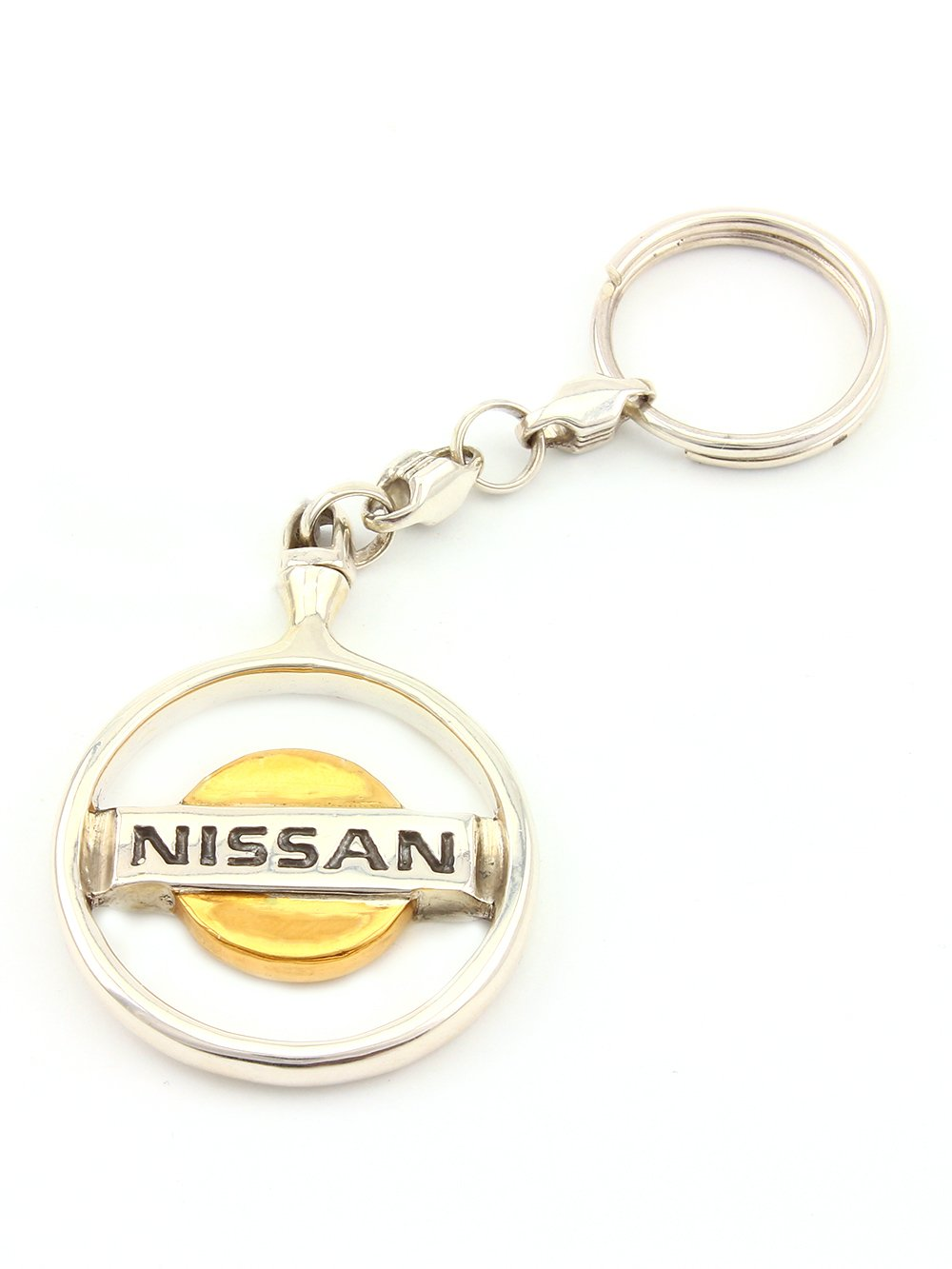 Silver Keychain For Nissan - Unique Key ring - Solid Sterling Silver - Gift for Men