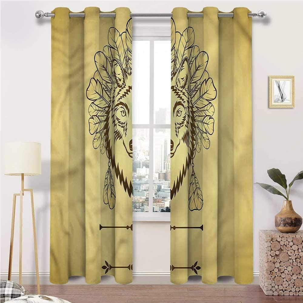 Farmhouse Curtains, Wolf Window Treatment Grommet Curtains, Artistic Animal Feathers Totem Set of 2 Panels, 72 Width x 96 Length