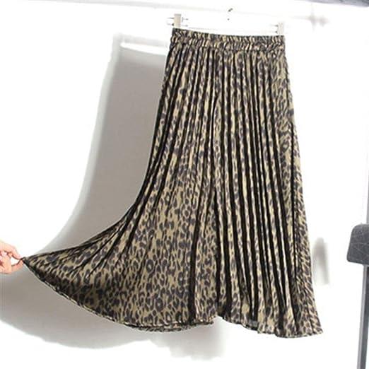 Huisongda Faldas Plisadas con Estampado de Leopardo de Cintura ...