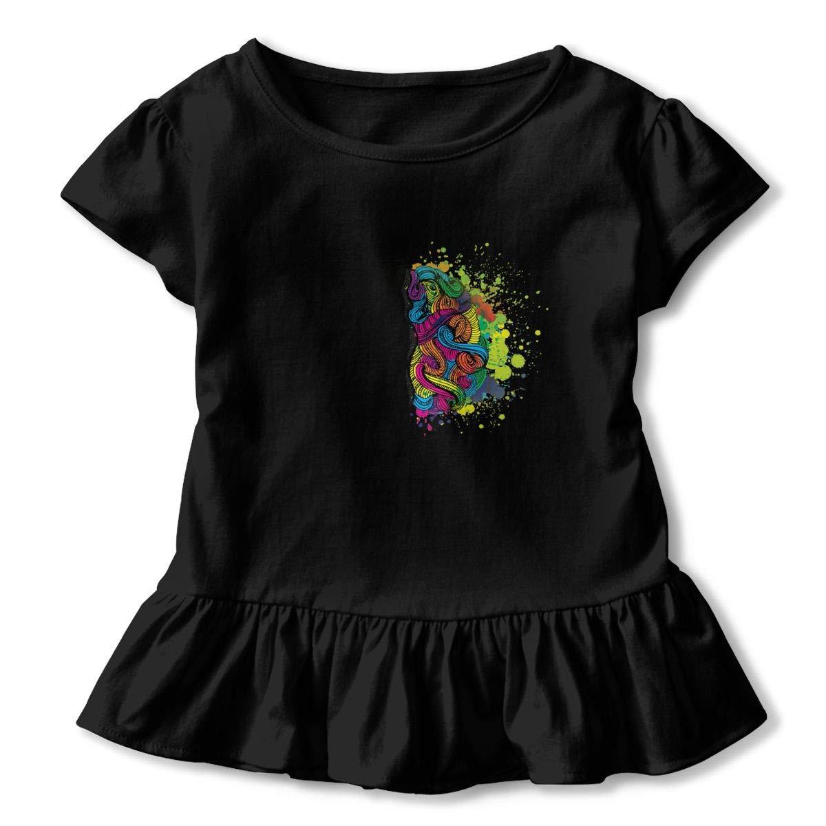 CZnuen Watercolor Math Brain Creativity Baby Girls Basic Short Puff Sleeve Round Neck Ruffle T-Shirt