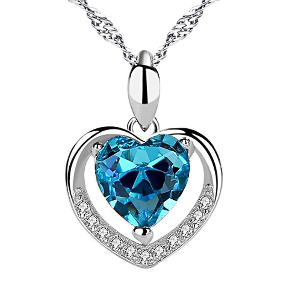 Chaomingzhen 925 Sterling Silver Always in My Heart Blue Crystal CZ Heart Pendant Enhancer for Women by chaomingzhen