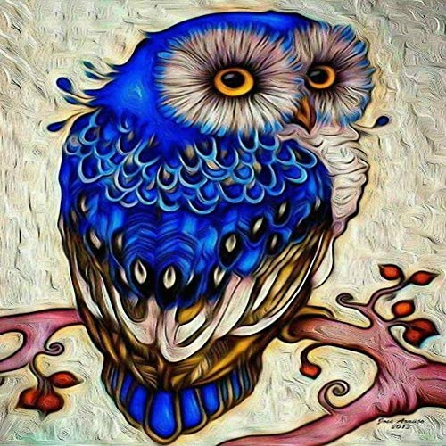 DIY 5D Diamond Painting by Number Kits, Painting Cross Full Drill Crystal Embroidery for Home Wall Decor Gift Blue owl 11.8x11.8in 1 by JU-JXIONG