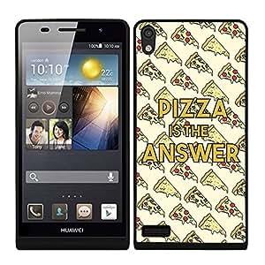 Funda carcasa TPU (Gel) para Huawei P6 estampado frase Pizza is the answer borde negro