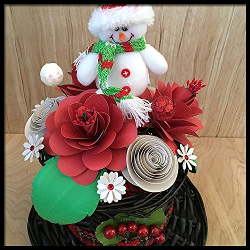 Christmas Paper Flower Arrangement in Snowman Hat