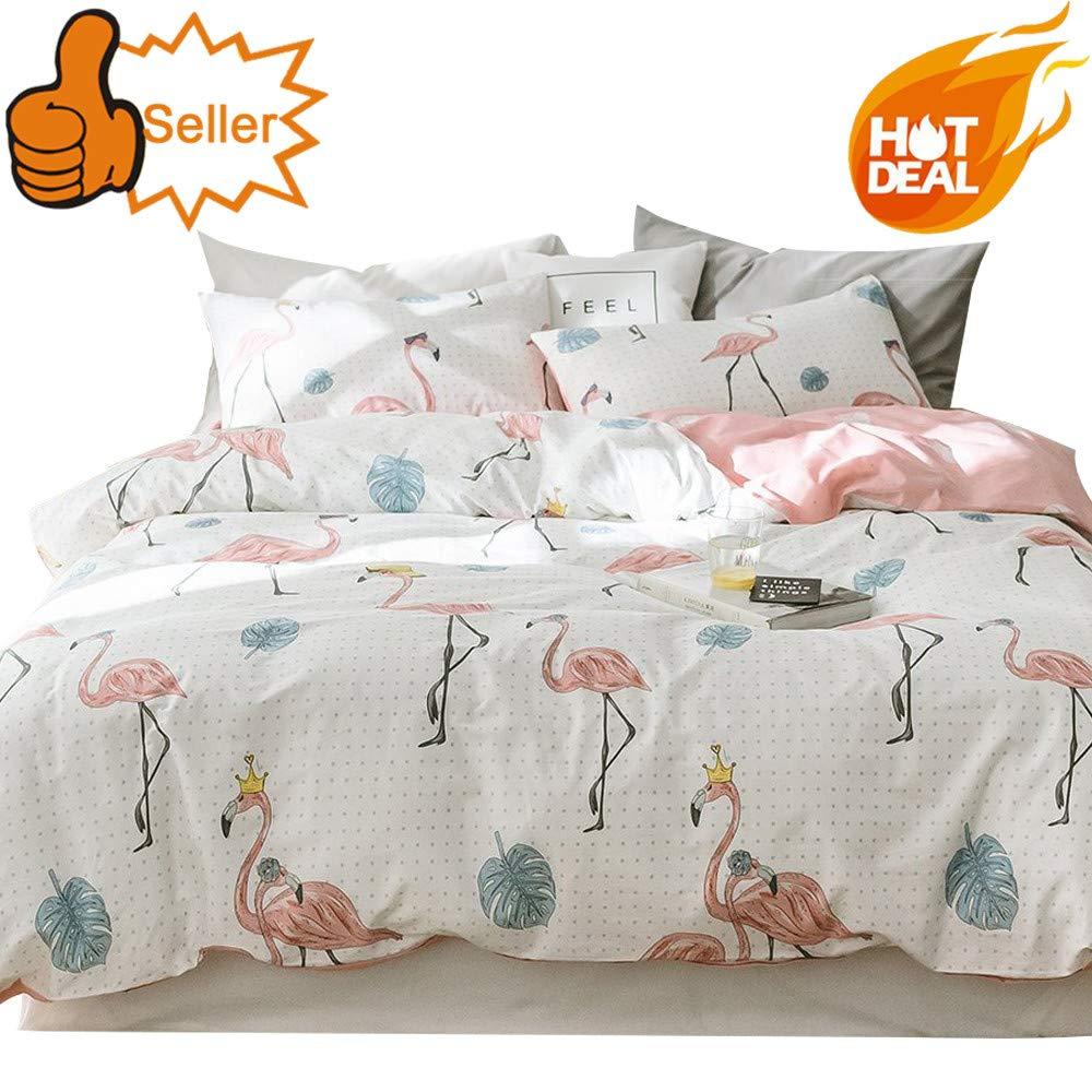 OTOB Girls Cotton Flamingo Print Queen Duvet Cover Set for Kids Teens Cotton 100 Percent Children Cartoon Animal Leaf Polka Dot Full Size Bedding Sets Reversible Lightweight (Pink White, Queen)