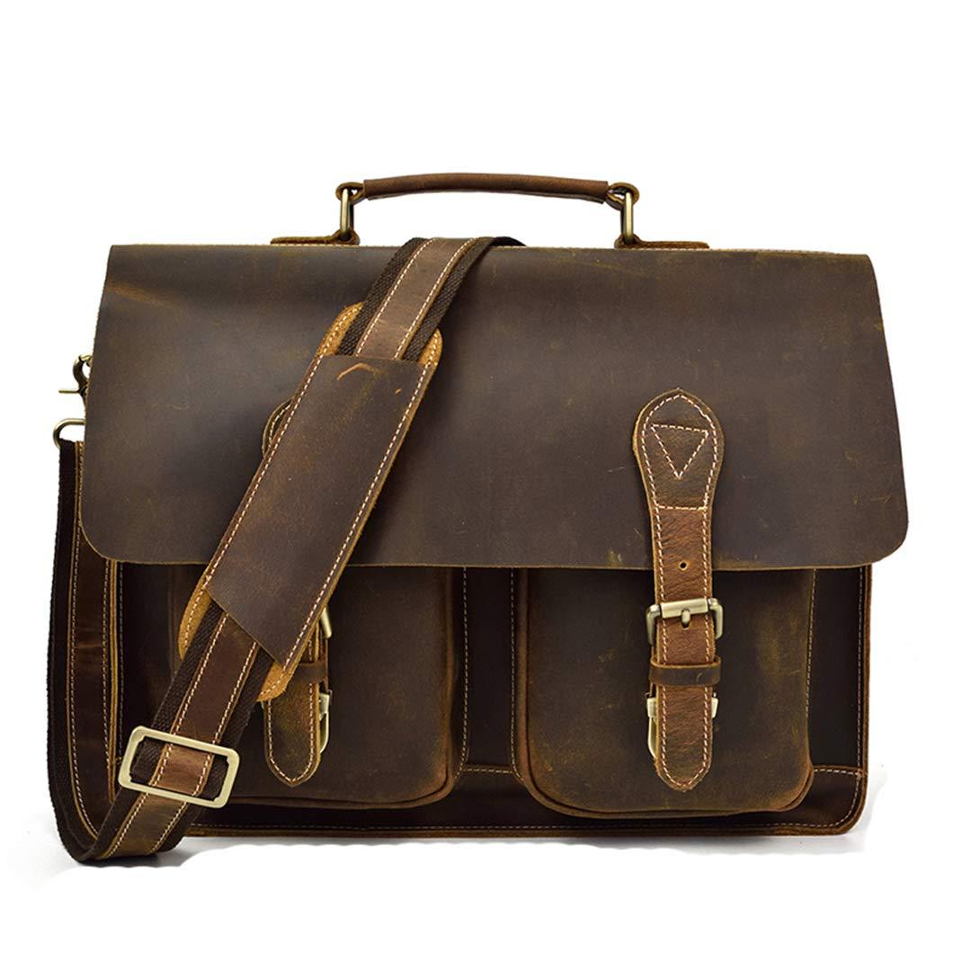 Crazy Horse Leather Men Briefcase Laptop Bag Business Bags Cowhide Work Tote Messenger Bag brown-40cm