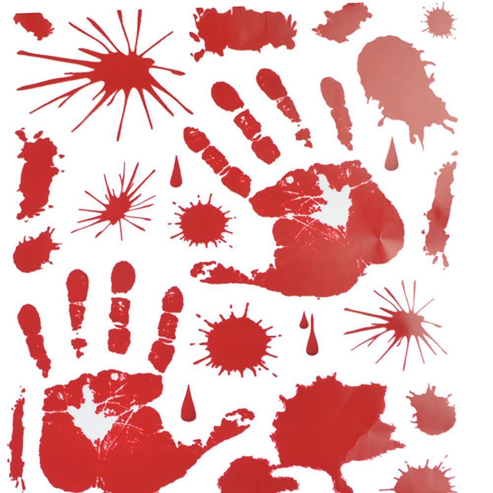 Isuper Halloween Sanglant Handprints étage Autocollants fenêtre d'impression Autocollant Main décoration d'halloween