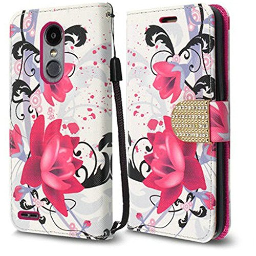 LG Aristo 2 X210 / LG Tribute Dynasty / LG REBEL 3 LTE (L157BL) Case, Luckiefind Premium PU Leather Flip Wallet Credit Card Cover Case, Stylus Pen, Screen Protector Accessories (Wallet Purple Lily)