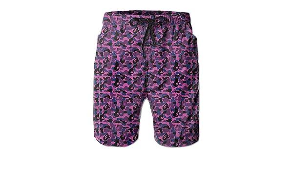 b2a7a651fd5 Amazon.com  Quick-Dry Bape Shark Pink Men s Swim Trunks Beach Board Shorts  Surfing Shorts Bathing Suits Swimwear  Clothing