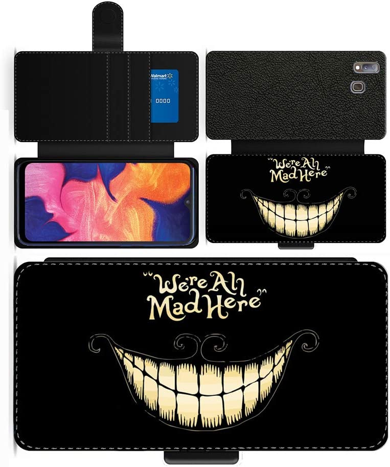 Samsung Galaxy A20E 2019 OKO Alice in Wonderland We are all mad here Mad Hatter Inspired faux leather flip phone case