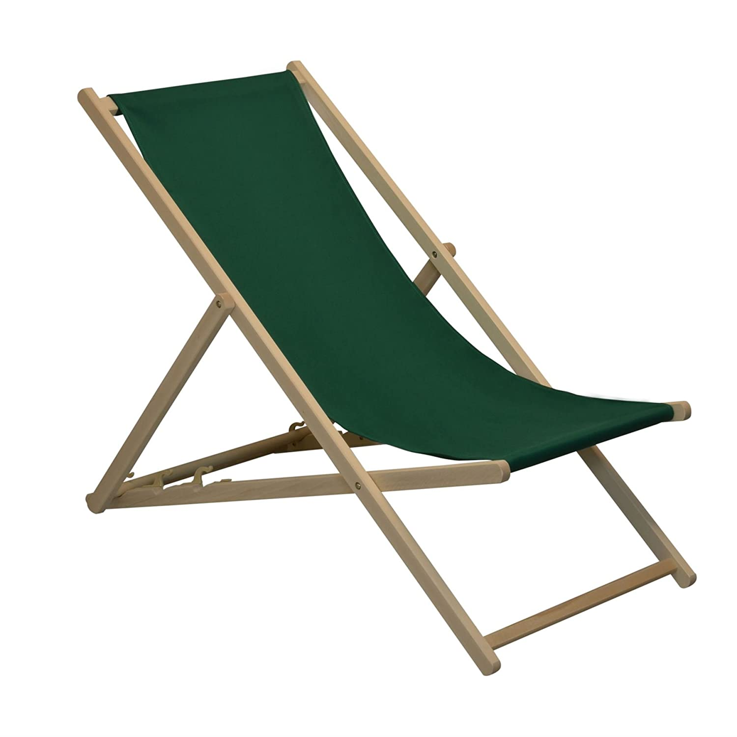 Traditional Adjustable Garden / Beach-style Deck Chair - Green Harbour Housewares