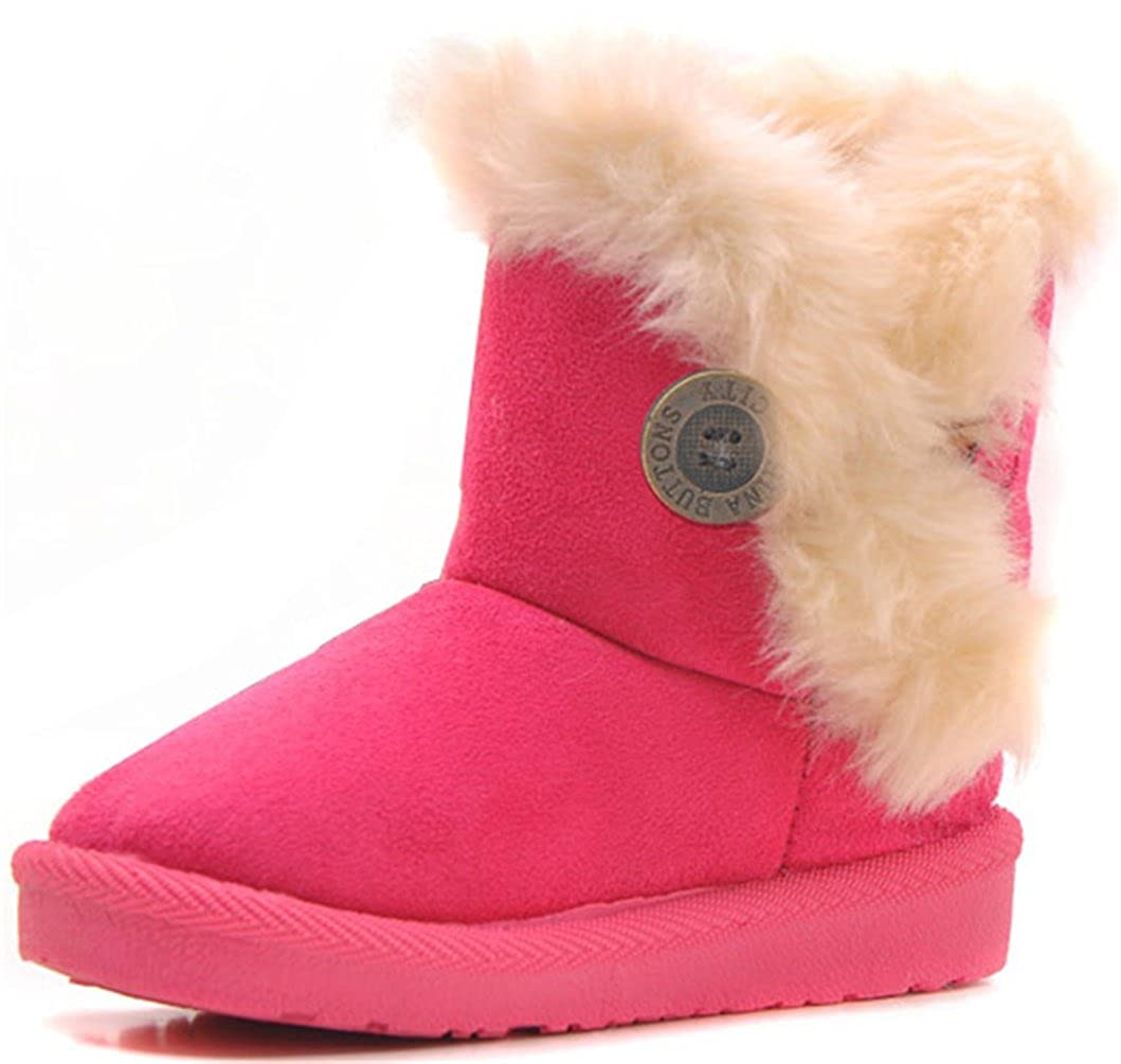 DADAWEN Baby's Girl's Boy's Cute Flat Shoes Bailey Button Winter Warm Snow Boots 70711ZW