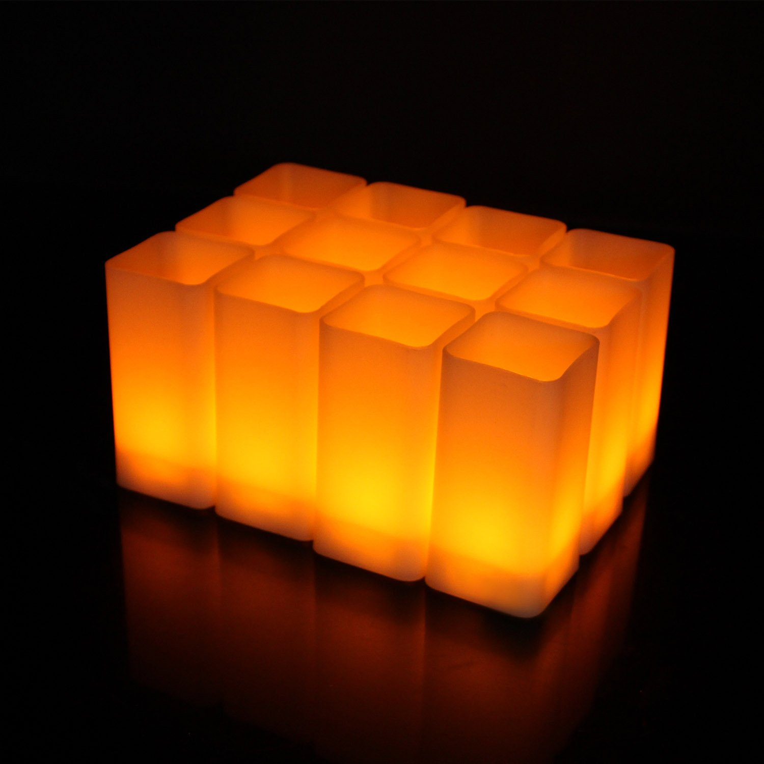 LedBack Flameless LED Square Candles Amber Yellow Flickering Pillar Candles Small Tea Lights Battery Operated Candles for Party Wedding Holiday Home Decoration 12 PCS (Batteries Included)