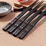 ORYOUGO 4 Pair Japanese Chopsticks Alloy Non-Slip Sushi Chop Sticks Set Chinese Gift