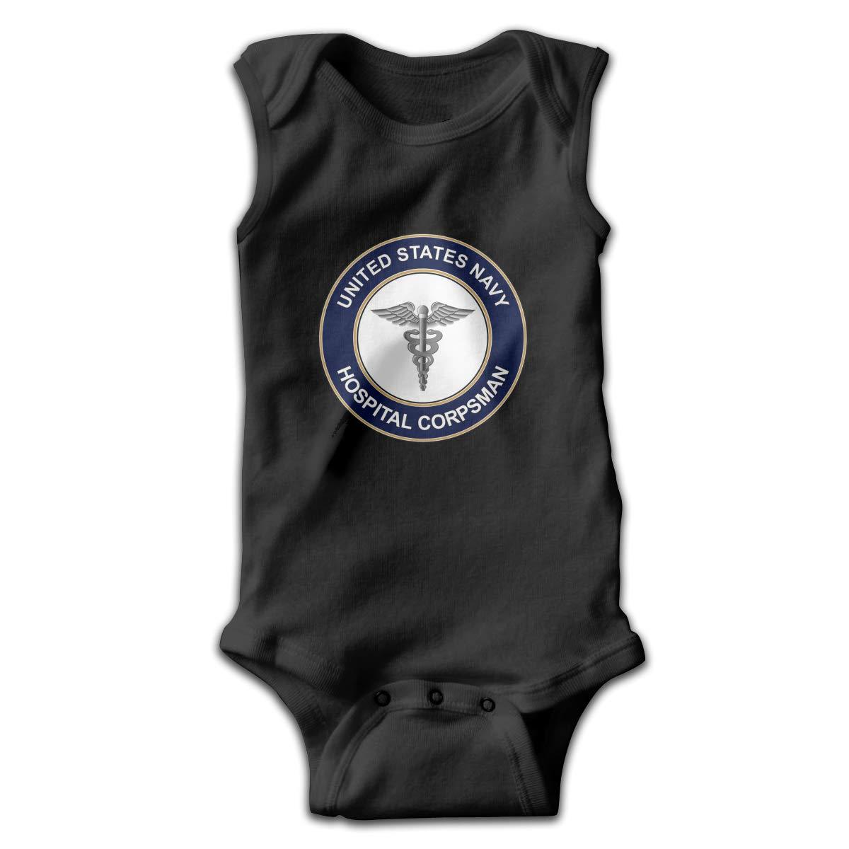 Dunpaiaa US Navy Hospital Corpsman Logo Smalls Baby Onesie,Infant Bodysuit Black