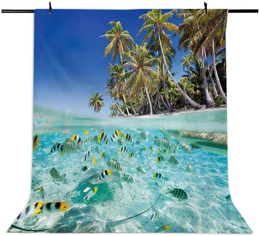 Tropical 10x12 FT Photo Backdrops,Exotic Island Above and Underwater Picture Scenic Polynesian Untouched Shoreline Background for Party Home Decor Outdoorsy Theme Vinyl Shoot Props Multicolor