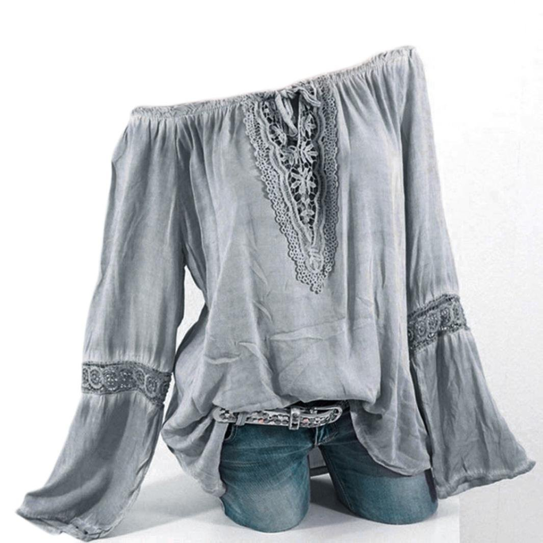 Youngh Womens Blouses Plus Size Loose Solid Lace Splicing Causal Summer Tops Shirts Youngh Top