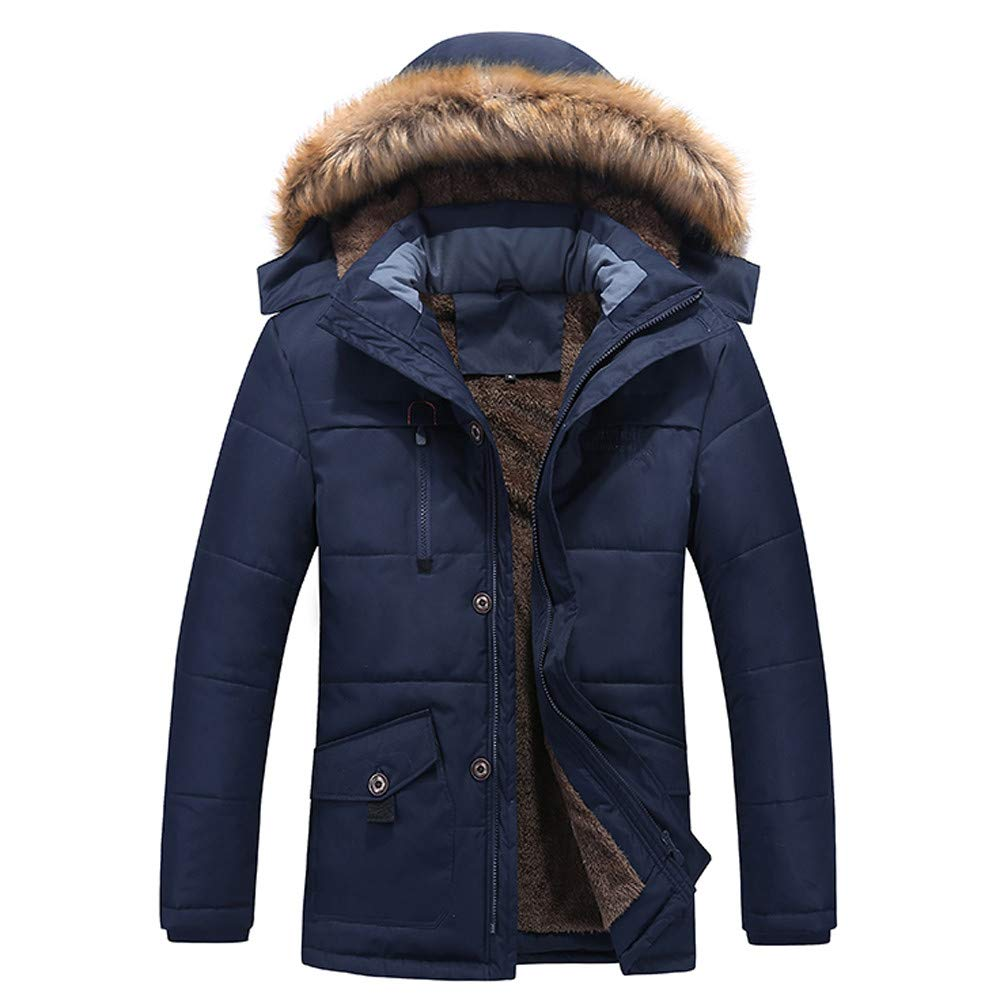 Fashion Men's Thickened Hooded Jacket G-Real Winter Medium Length Zipper Plus Size Cotton Outwear Coat Dark Blue by G-real Men Outfits