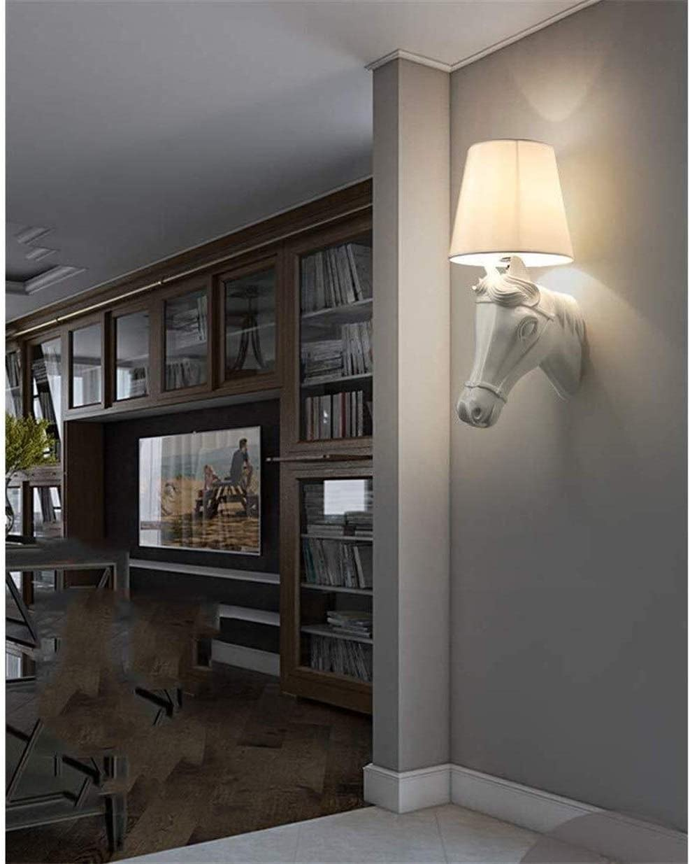123564 Resin Horse Head Wall Lamps Modern Wild Style Hotel Lobby Aisle Decor Wall Light Bedroom Bedside Wall Lighting Fixtures (Color : Black) White