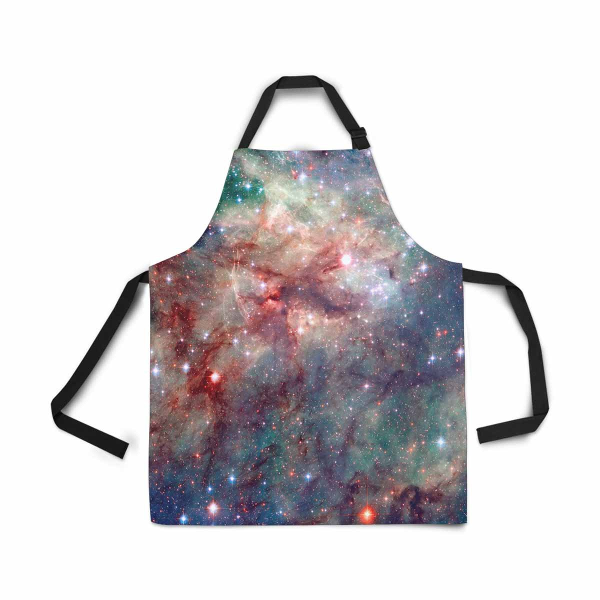InterestPrint Tarantula Nebula Cloud Galaxy Adjustable Bib Apron for Women Men Girls Chef with Pockets, Novelty Kitchen Apron for Cooking Baking Gardening Pet Grooming Cleaning
